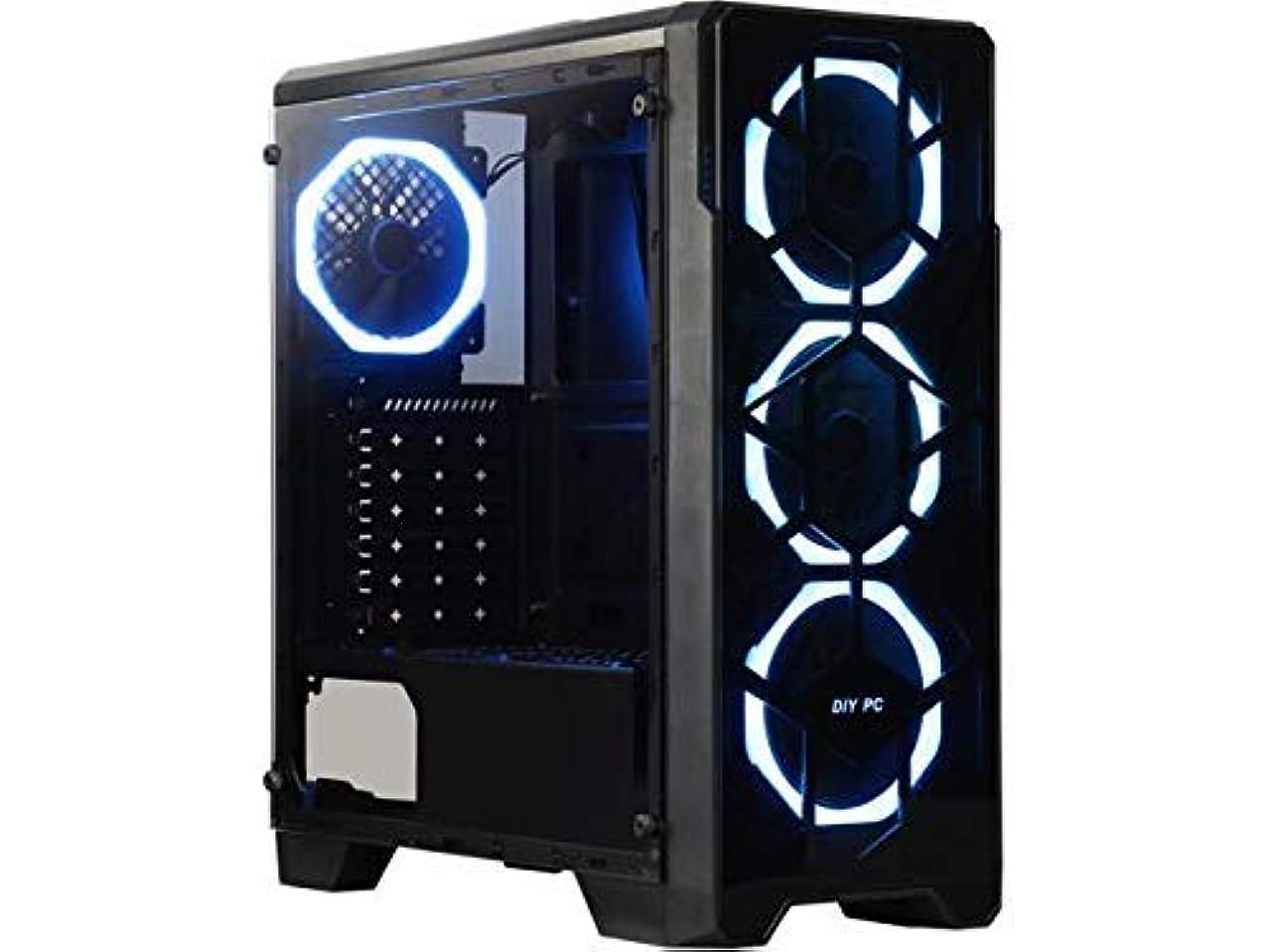 不変オープニング雄大なDIYPC クリスタルP3-RGB ブラック デュアルUSB3.0 スチール/強化ガラス ATX ミドルタワー ゲームコンピュータケース
