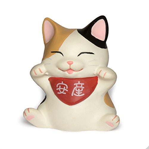 ペットラバーズ 安産猫 「安産」ロゴ 両手招き猫 置物 なかの由峰 LC-1001