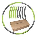 フラフープ ダイエット EZCAMP組み立て式8本 大人用 子供用 ウエスト くびれ 有酸素運動 直径95cm サイズ調整可 (グリーン)