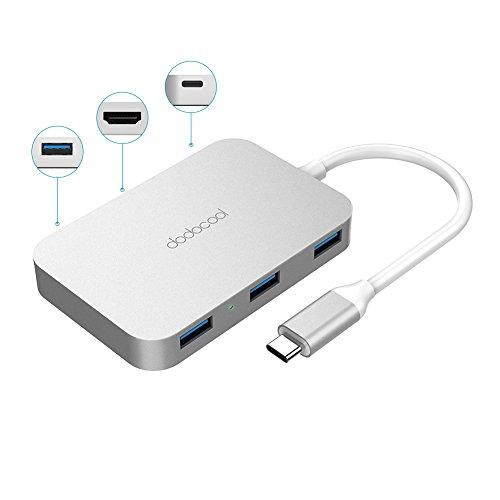 dodocool 6-in-1多機能USB-Cハブ USB-C充電ポート*1+4KビデオHD出力ポート*1+USB 3.0ポート*4 12