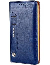 iPhone Xr ケース 手帳型、SIMPLE DO カード収納 携帯カバー 横開き スタンド機能付き 財布仕様 男女兼用(ブルー)