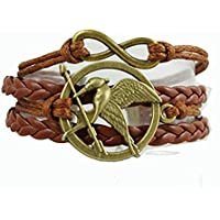 Afoxsos The Hunger Games Merchandise Leather Bracelet Cord Mockingjay