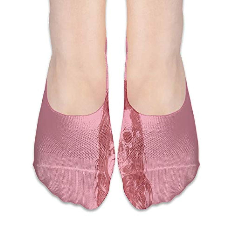 昼食アスリート消費ピンクの頭蓋骨の女の子ノーショーソックス女性ボート靴ローファーソックス、滑り止めグリップ