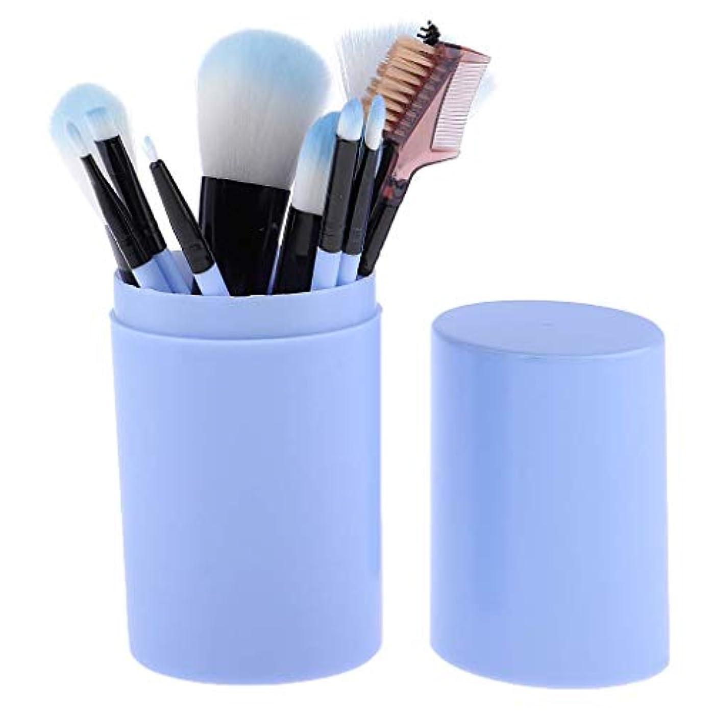 達成ぴったり複合Makeup brushes 青、スミアのようなリアルな、持ち運びに快適、収納バケット付き化粧ブラシセット付き12ピース高品質木製ハンドル化粧ブラシセット suits (Color : Blue)