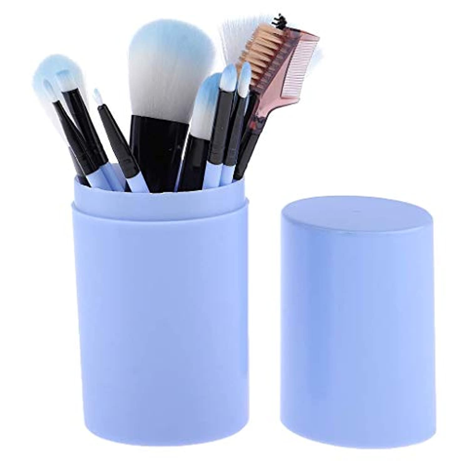 パンダあさり船乗りMakeup brushes 青、スミアのようなリアルな、持ち運びに快適、収納バケット付き化粧ブラシセット付き12ピース高品質木製ハンドル化粧ブラシセット suits (Color : Blue)