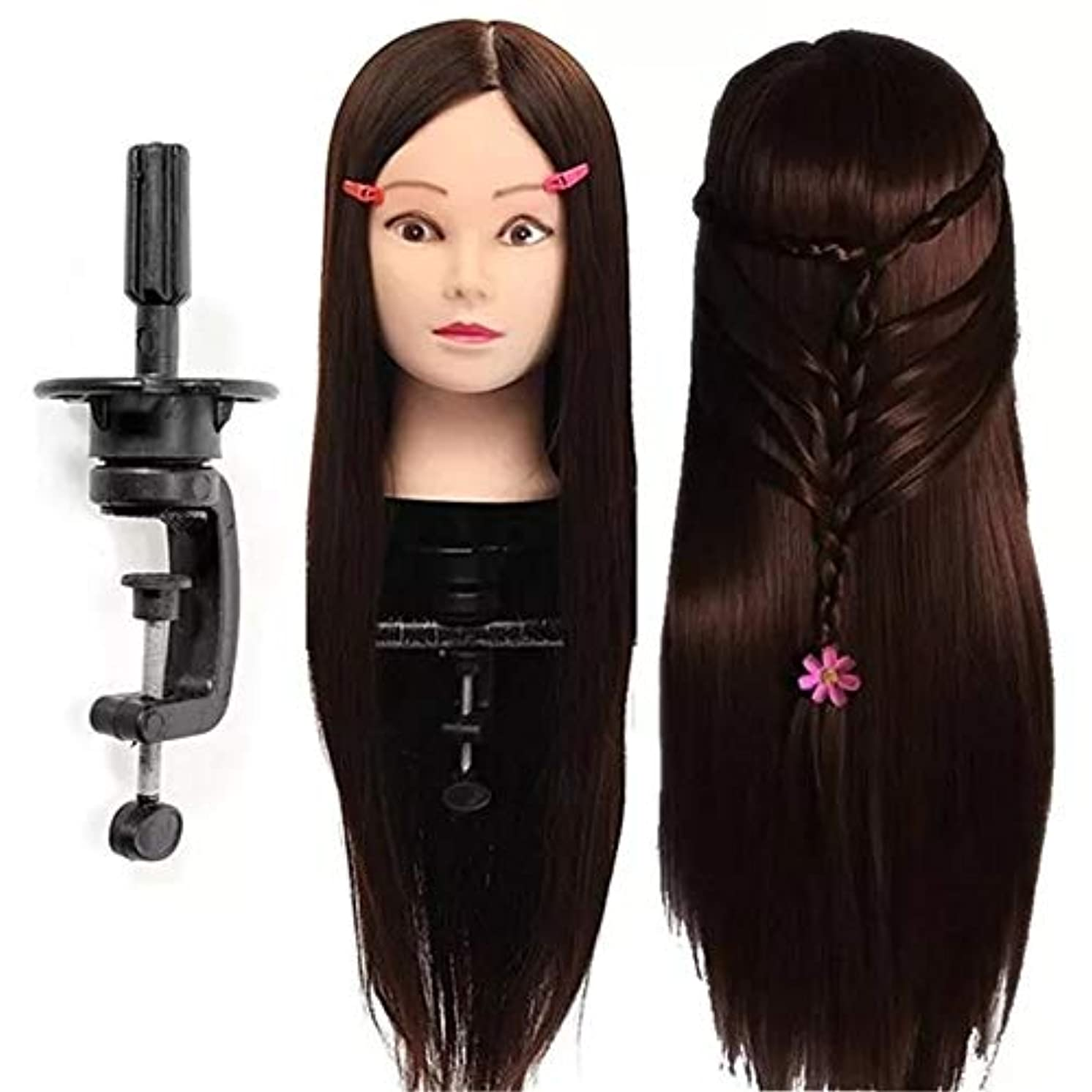 病気水族館複雑なヘアマネキンヘッド 30%の本物の人間の髪の毛理髪トレーニングマネキンダークブラウンの練習ヘッドクランプサロン専門職 ヘア理髪トレーニングモデル付き (色 : Dark Brown Hair, サイズ : 26