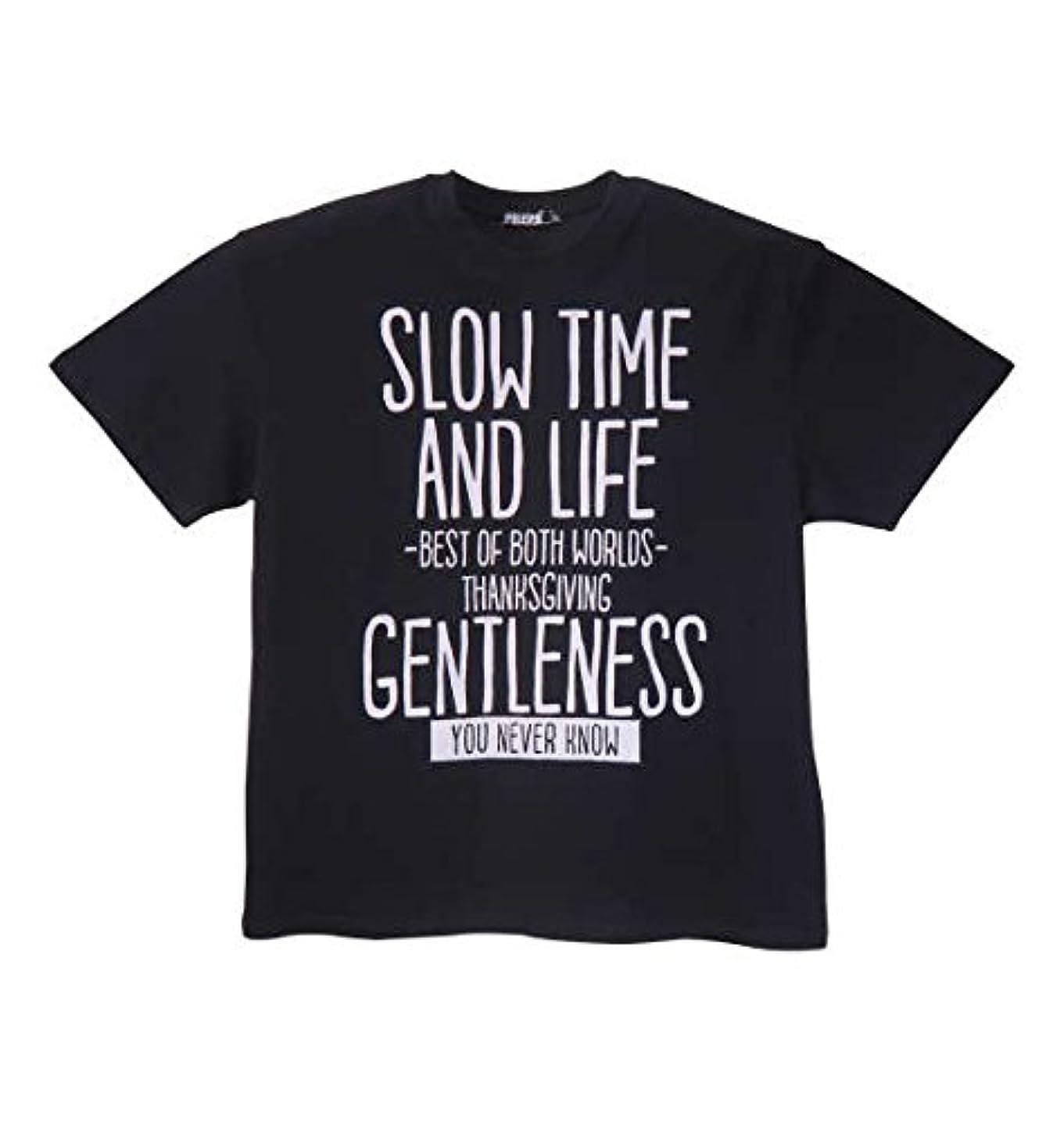 挨拶するベーシックPREPS 半袖Tシャツ ブラック 大きいサイズ メンズ 3L 4L 5L 6L 8L 1158-8590-2