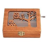 木製手作りオルゴール 絶妙なジュエリーボックス中空森林動物の機械木製工芸品ケース キッズおもちゃミュージックボックスギフト(フクロウ)