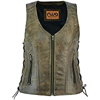Ruja Womens Classic Vintage Leather Vest