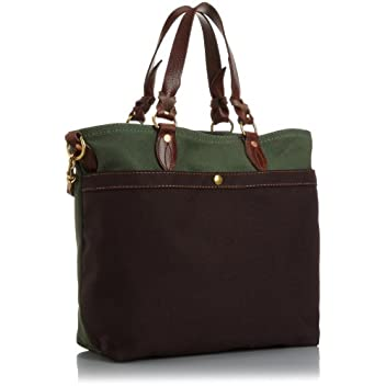Medium Canvas Tote w/ Strap 8013: Olive / Brown