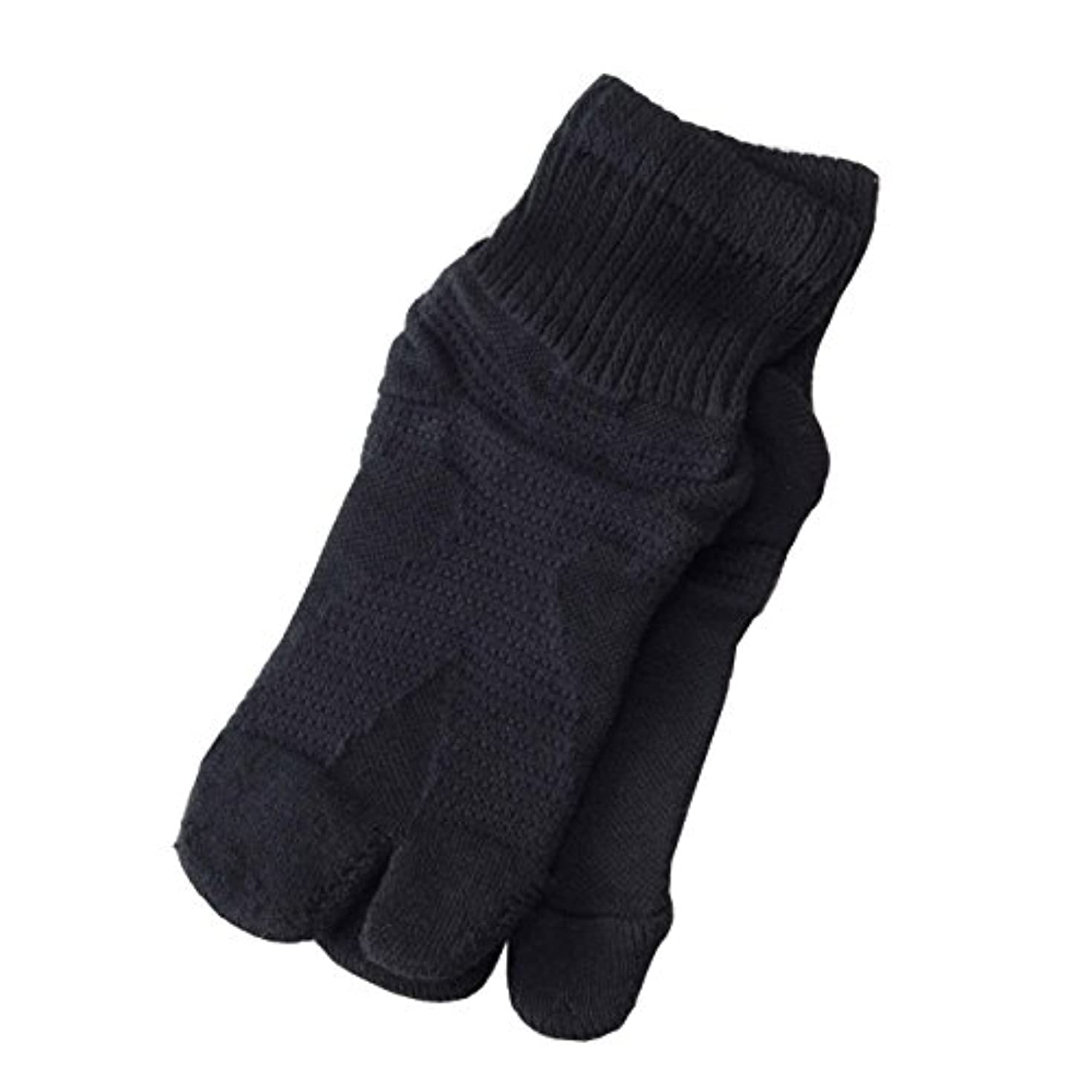 雷雨汚染ブース日本製歩行サポート足袋ソックス (ブラック, 23~25cm)