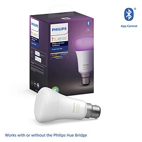 Philips Hue White Colour Ambiance Bayonet Cap (B22)  Dimmable LED Smart Bulb (Latest Model, Compatible with Bluetooth, Amazon Alexa, Apple HomeKit, and Google Assistant)