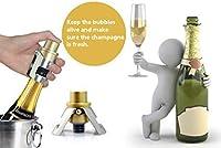 ノベルティボトルストッパー 真空ポンププリザーバー ステンレススチール ワインと飲料ボトルストッパー グリップトップ付き 2個パック