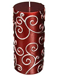 Zest Candle CPS-004-12 3 x 6 in. Red Scroll Pillar Candle -12pcs-Case - Bulk