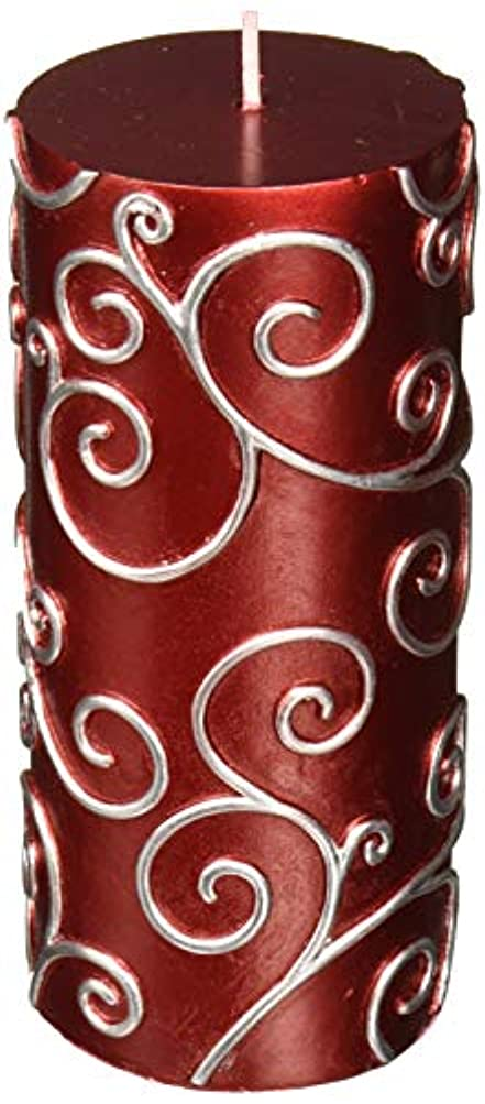 マイクロフォンストレッチ混合したZest Candle CPS-004-12 3 x 6 in. Red Scroll Pillar Candle -12pcs-Case - Bulk