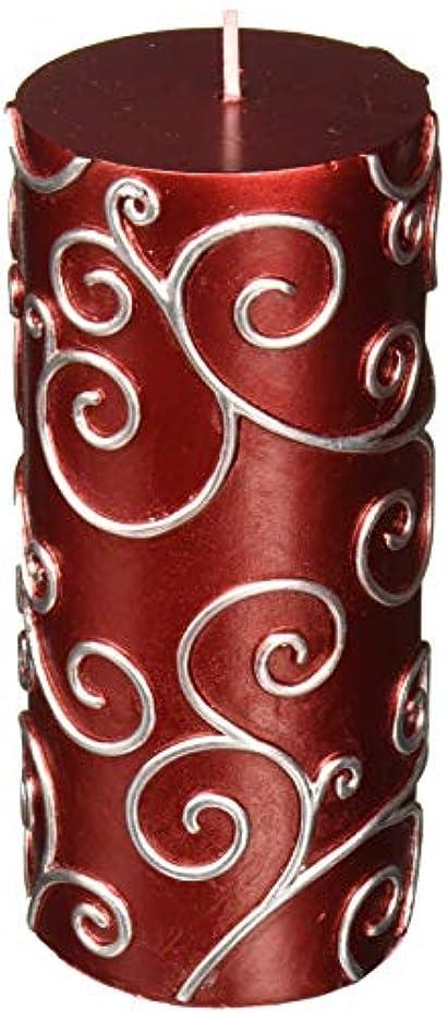 膨らみアルミニウム同僚Zest Candle CPS-004-12 3 x 6 in. Red Scroll Pillar Candle -12pcs-Case - Bulk