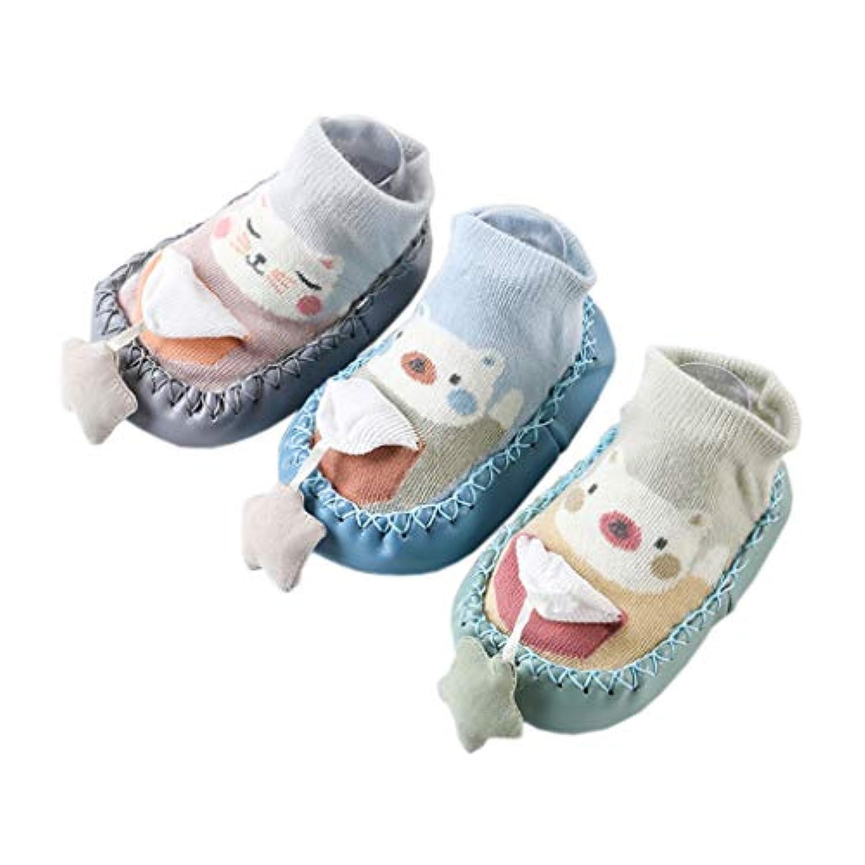 [テンカ]ベビーシューズ ベビーソックス 靴下 ルームシューズ 赤ちゃん 新生児 出産祝い 歩行サポート ソフトソール プレゼント 歩きやすい 軽量 子供用 履き脱ぎやすい 幼児靴 日常履き 歩く練習 3足