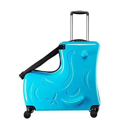Creacom キッズキャリーケース スーツケース キャリーバッグ 子供 木馬設計 可愛い 丈夫 軽量 多機能 5サイズ2色選択可 使いやすい おもちゃ箱 乗れるキャリーケース 旅行 通学 遠足 出かけ便利 (ブルー, 24寸)