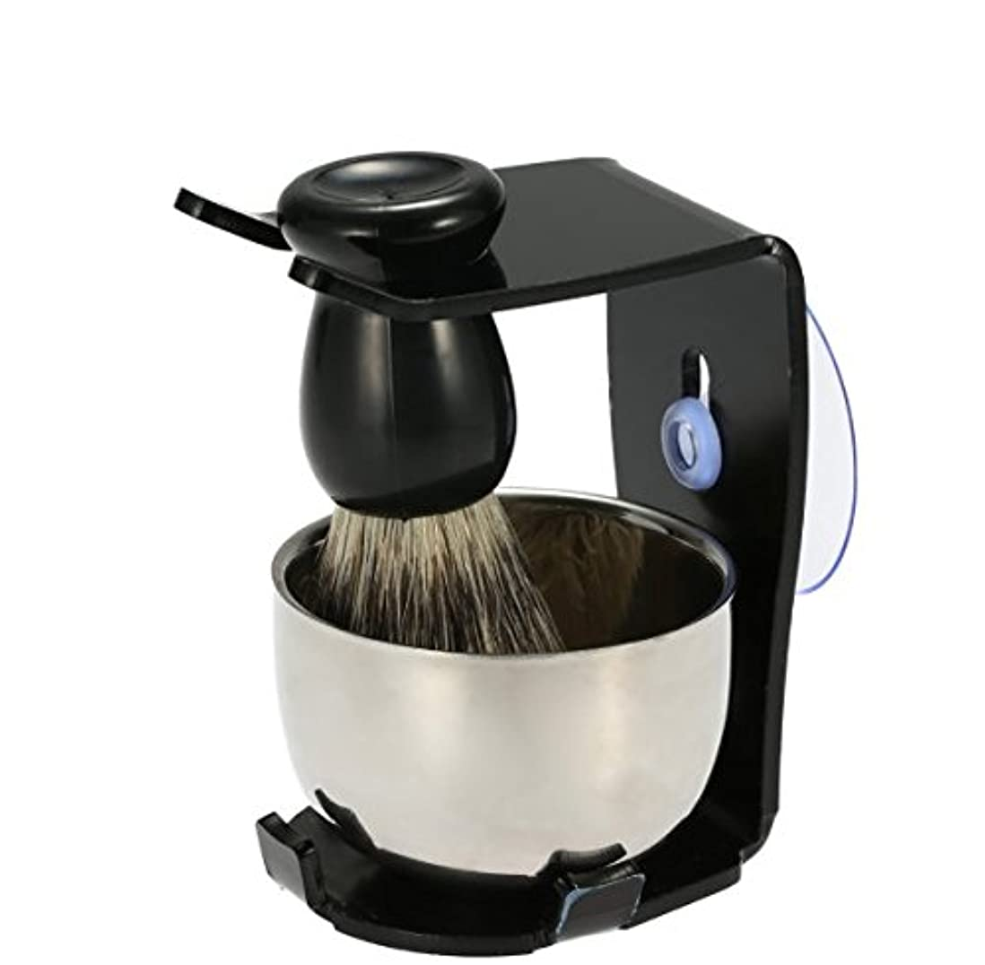 後退する保持カウボーイ3 In 1 Men's Shaving Razor Set Badger Hair Shaving Brush Stand Razor Holder