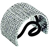 Rhinestone Ponytail Holder by Crystal Avenue   Stretchy Elastic Hair Tie   Silvertone with Sparkling Crystals