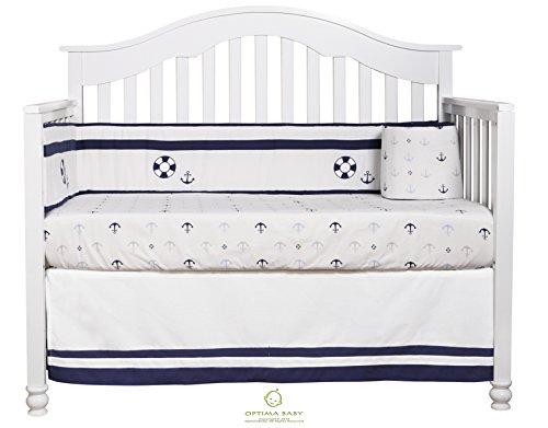 GEENNY OptimaBaby Nautical Explorer Sailor 6 Piece Baby Nursery Crib Bedding Set