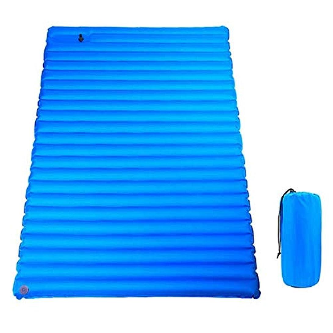 相対サイズシャンパン申し立てダブルキャンプインフレータブルマット屋外、超軽量ポータブル2人マットレスエアロールマットスリーピングパッド防湿ベッド用テント (色 : 青, サイズ さいず : L l)