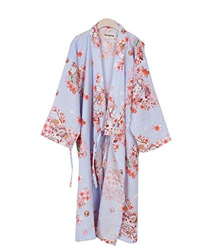 ライトパープルコットンパジャマカーン蒸し服緩いパジャマ浴衣...