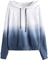 SweatyRocks Women's Long Sleeve Hoodie Sweatshirt Colorblock Tie Dye Print Pullover Shirt Bl