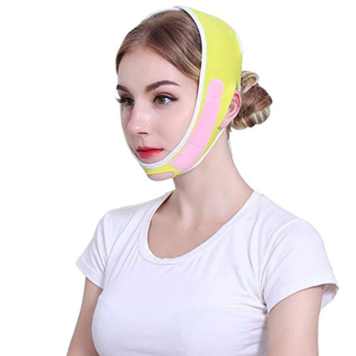 加速する赤道臨検ZWBD フェイスマスク, フェイスリフティング包帯v薄い顔の形の男性と女性vフェイスリフティング引き締めリフティングフェイス包帯黄色