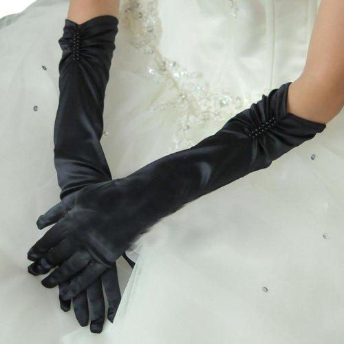 ウェディンググローブ サテン ロング 選べる3色 純白、乳白、黒 黒色