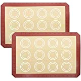DIRECT FROM FACTORY Silicone Baking Mat (Pack of 2) - 16.5 x 11.5 inches, Reusable Baking Mat for Cookies, Macarons, Pastry,