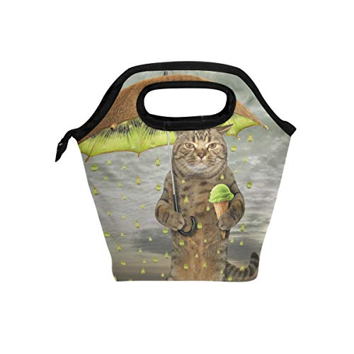 VAWA ランチバッグ 保冷 保温 おしゃれ お弁当袋 大容量 ランチボック クーラーバッグ 弁当箱 通勤 通学 アウトドア 高校生 子供用 猫柄 面白い キウイ 傘をさす猫 アイスクリーム