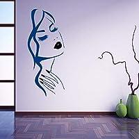 ハンドガールフェイスウォールステッカーネイルショップ装飾ビューティーサロンヘアスタイルルーム装飾アートポスター壁画デカール57×25センチ