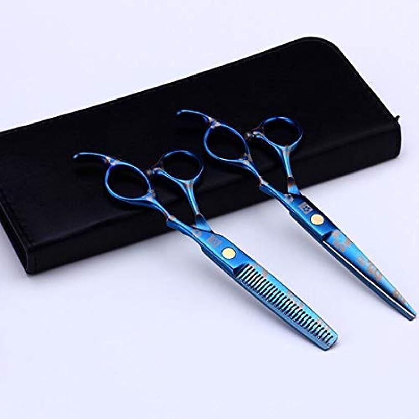 平衡凝視心理学Jiaoran の理髪はさみセット理髪はさみ青い髪カットハサミの世代