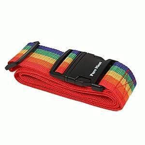 ワンタッチ式 スーツケースベルト 旅行の必須アイテム 旅行用品 旅行便利グッズ (レインボー)