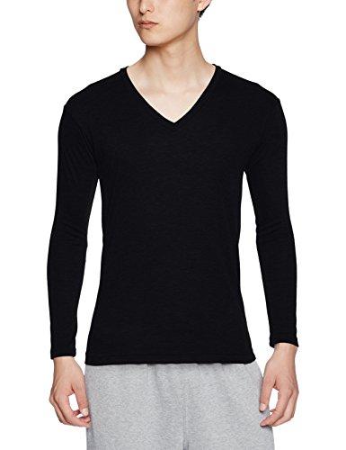 (ビー・ブイ・ディ)B.V.D. 吸湿発熱 保温 防寒 Vネック長袖Tシャツ WARM TOUCH中厚 GR058PS BK ブラック M