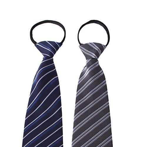 ネクタイ ビジネス用 ワンタッチネクタイ ジップ式簡単ネクタイ 2本セット LD-2020-19