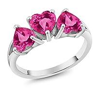 Gem Stone King 2.70カラット 合成ピンクサファイア 天然 ミスティックトパーズ (ピンク) シルバー925 指輪 リング