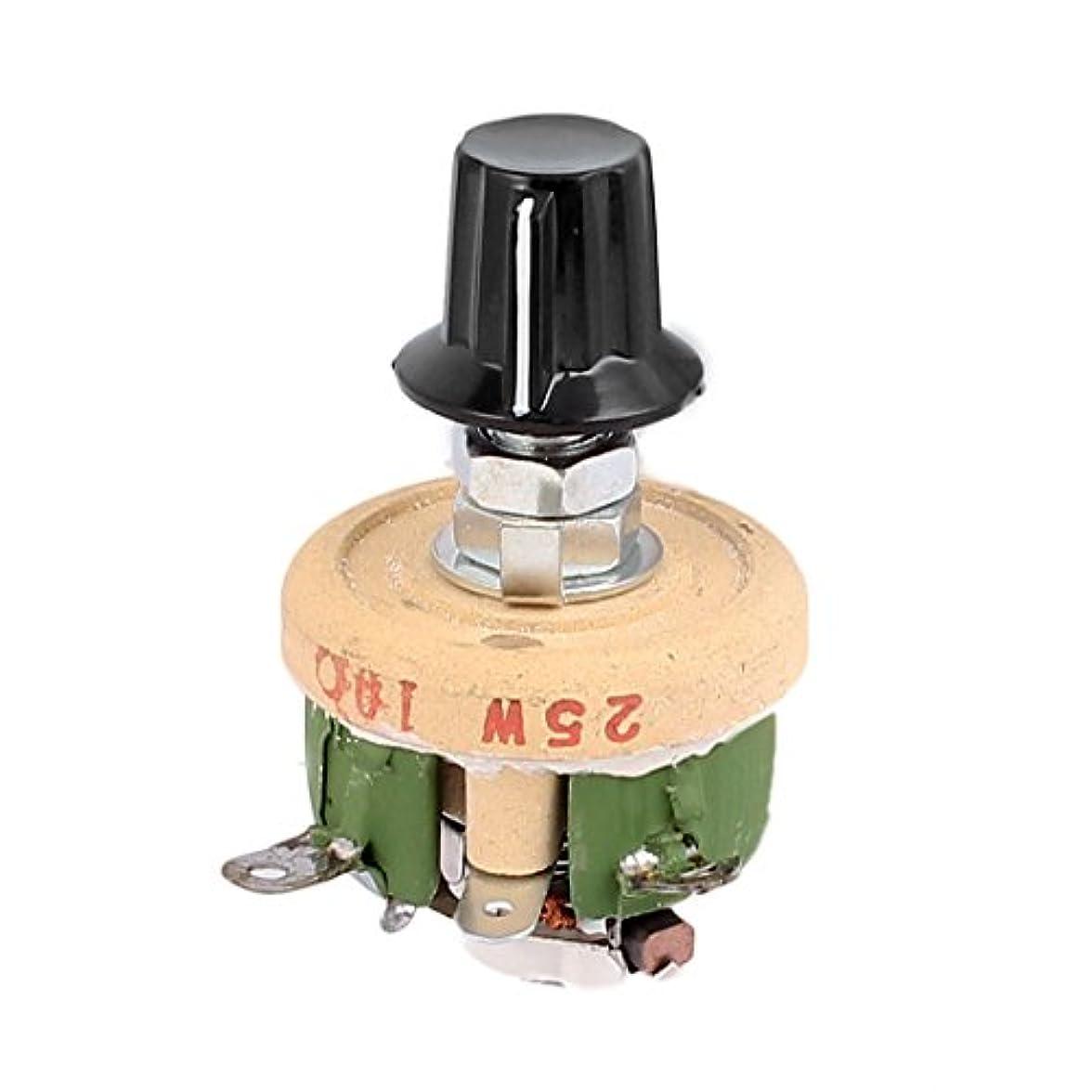 接続独占味付けuxcell 抵抗器レオスタット ロータリーノブ付き 巻線セラミック ポテンショメータ 可変レオスタット抵抗 25W 10オーム