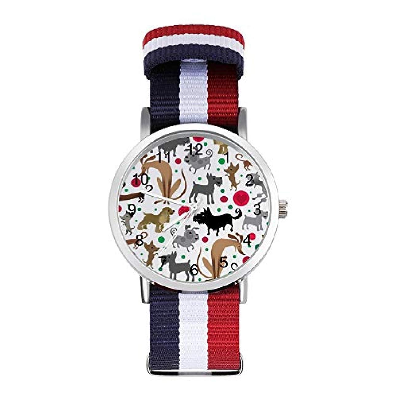 緩む泥棒ホストHAYOE 腕時計 ナイロン シルバー 文字盤 男女兼用 Nylon Watch かわいい おしゃれ レディースウォッチ メンズウォッチ ダックスフント プードルテリア コッカーはハート 球