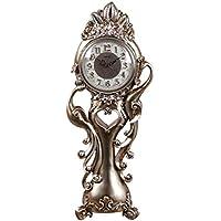 ヨーロッパのクロックテーブルピーコックテーブルクロック裕福な時計クリエイティブシッティングクロックオーナメントファッションミュートカウンタートップベッドクロック (色 : Brown)