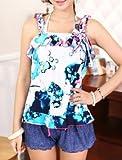 【ファシナート】 タンキニ ビキニ4点セット ブラ ショーツ ワンピース パンツ かわいい 高品質 モテ (L ラージ エル, 青 ブルー)