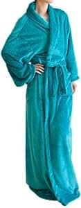mofua HeatWarm 袖付きマイクロファイバー 着る毛布(帯付き・ポケット付き・静電気防止加工) フリーサイズ ターコイズ 45696629