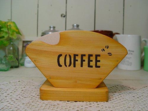 コーヒーフィルターケース 木製ひのき COFFEE&コーヒー豆ステンシル コーヒーペーパーケース ナチュラル 受注製作