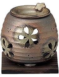 常滑焼 6-249 石龍緑灰釉桜透かし茶香炉 石龍φ11×H11㎝