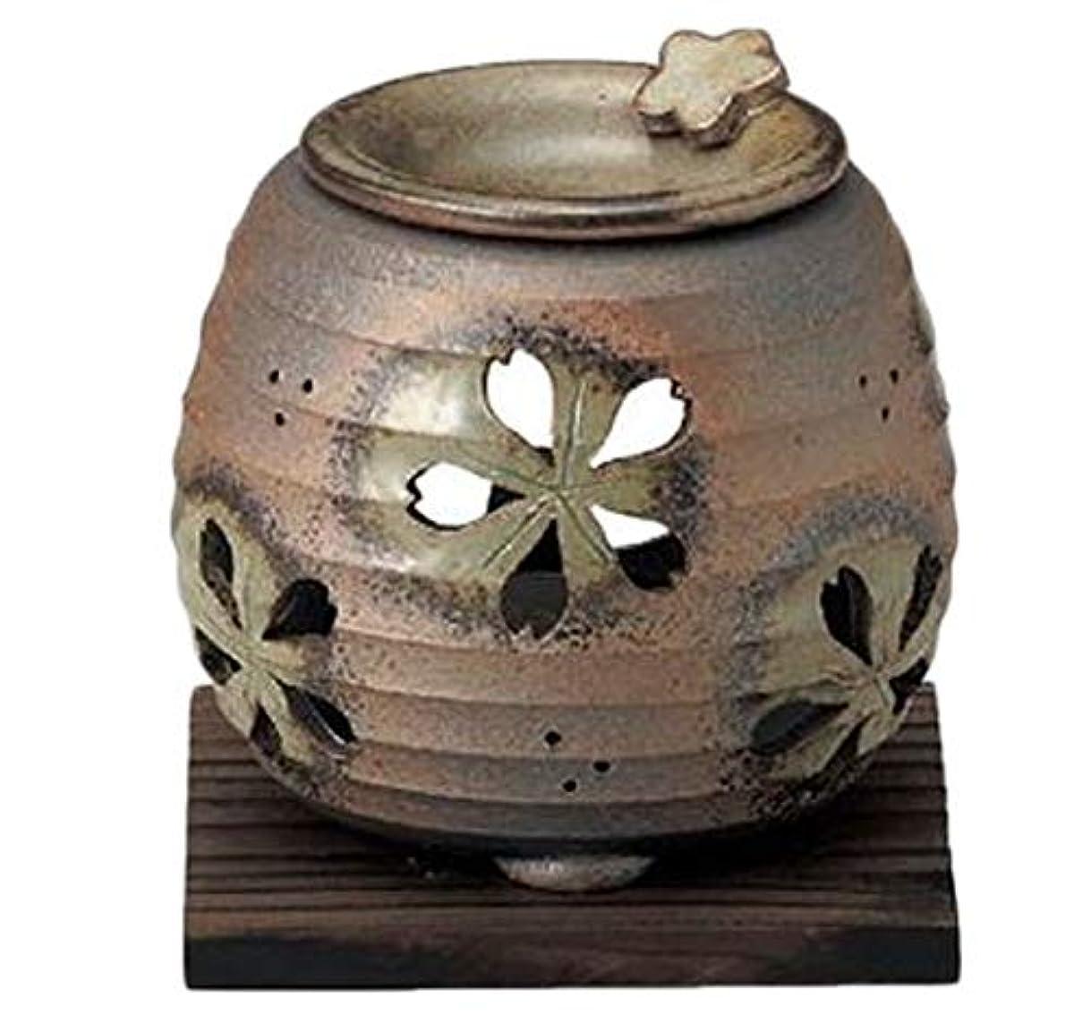 ビルダー吸うクリック常滑焼 6-249 石龍緑灰釉桜透かし茶香炉 石龍φ11×H11㎝