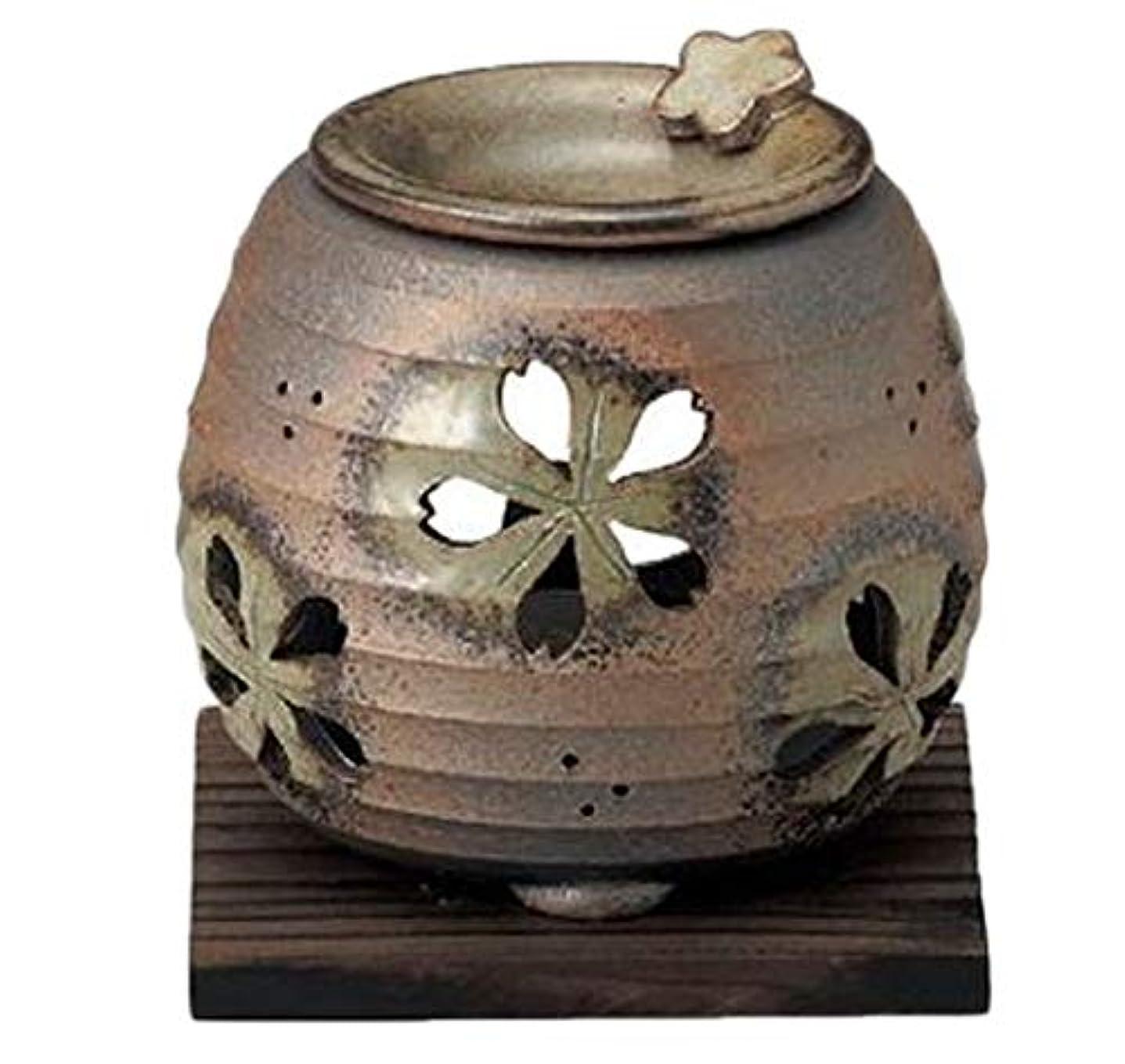 落花生汗カール常滑焼 6-249 石龍緑灰釉桜透かし茶香炉 石龍φ11×H11㎝