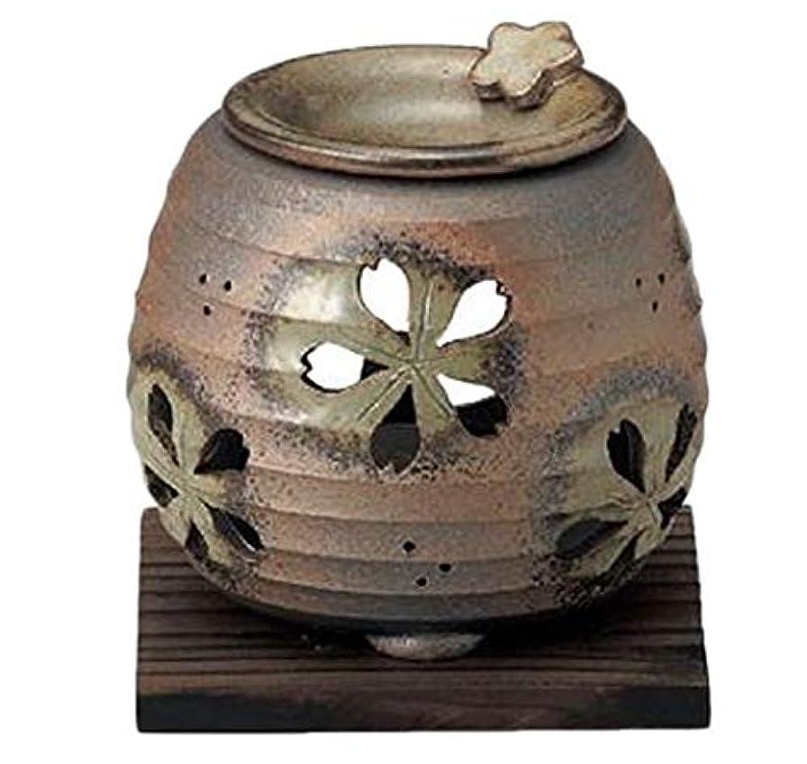 趣味もっともらしい後ろに常滑焼 6-249 石龍緑灰釉桜透かし茶香炉 石龍φ11×H11㎝