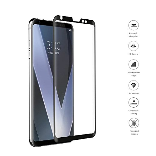 【ElekFX】最新版LG V30 スマホ専用 強化ガラスフィルム 日本旭硝子素材 厚0.26mm 3D曲面 3Dラワンドエッジ加工処理 LG V30液晶保護フィル 9H 硬度 ガラス飛散防止 指紋防止 高透過率 気泡ゼロ 自動吸着(黒)