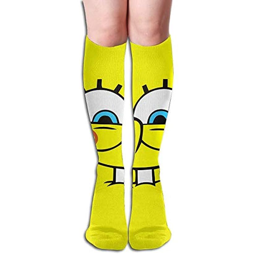 見えるぎこちない展示会qrriyスポンジボブ壁紙チューブストッキングレディース冬暖かい膝ハイソックスブーツ靴下
